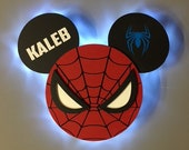 Spiderman Super Hero Wooden Door Magnets with Lights for Disney cruise, Disney cruise door magnet, Marvel day at sea