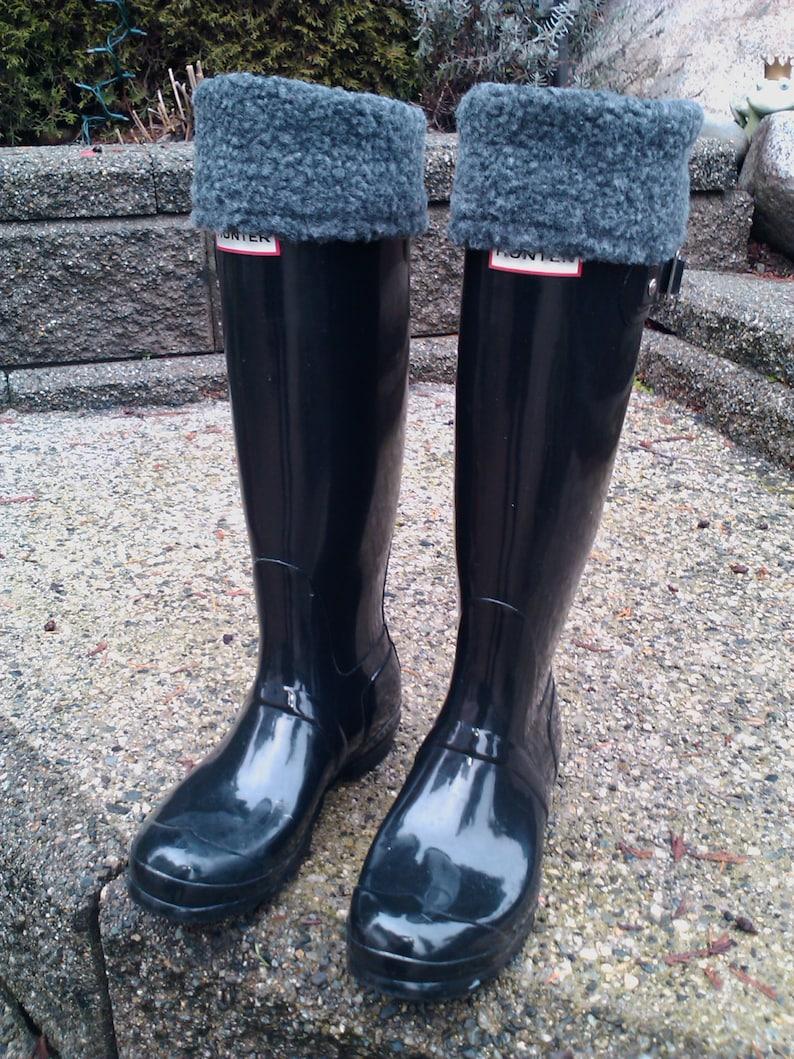 Grey Sherpa Boot Cuff Charcoal, Fleece Boot Socks. Soft, cozy Microfleece. Fits Hunters, Boggs, Wellies, etc. Boot Socks, boot accessories