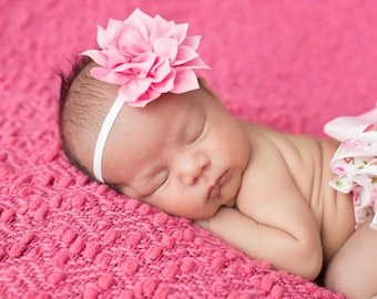 Pink Baby Headband - Cake Smash - Birthday  Headband, Girls Headband, Flower Headband, Baby Headbands, Newborn Headbands, Infant Hairbow