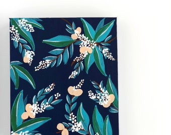 White and Peach Flowers on Navy Canvas - Midnight Glory