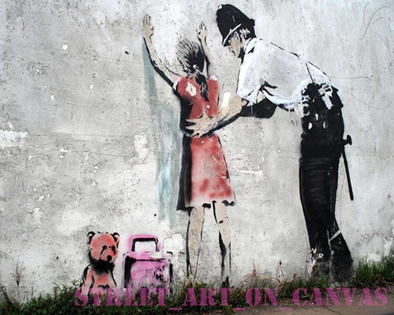 """BANKSY STREET ART /""""FRISKING GIRL/"""" LARGE PHOTO LOOKS GREAT FRAMED"""