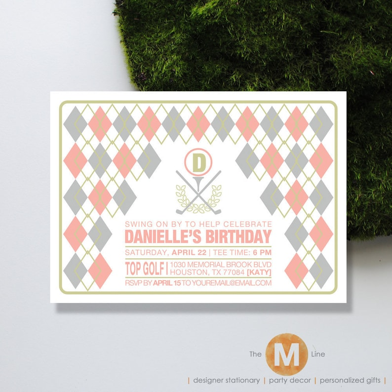 Printable Birthday Invitation Golf Theme Pink
