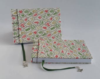 Fabric Notebook, Small, A6, Red, Green, White, Sustainable Paper, Hand Bound, Landscape, Blank Book