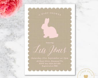 Bunny Baby Shower Invitation / Baby Shower Invite / Baby Girl / Pink / Bunny