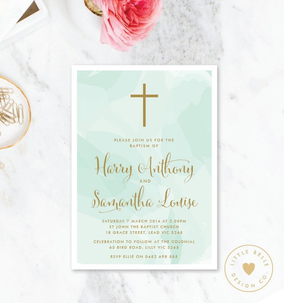 twin baptism invitation printable twin christening invite etsy