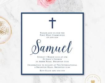 Boy First Holy Communion Invitation Printable / Boy First Holy Communion Invite / Cross / Navy