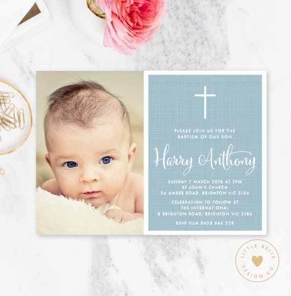 baptism invitation boy photo invitation photo boy baptism etsy