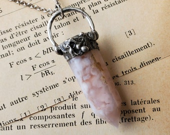 Crystal Point Pendant Neutral Hues Metaphysical Soldered Necklace Gemstone Jewelry Flower Agate Necklace Agate Gemstone Point