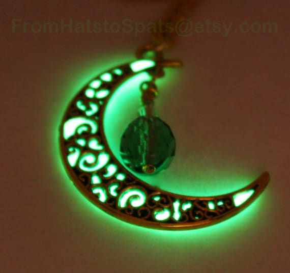 Leaf Green Glow in the Dark and Antique Bronze Crescent Moon Pendant Pendatif Lune Lueur with a Green Vintage Crystal Drop