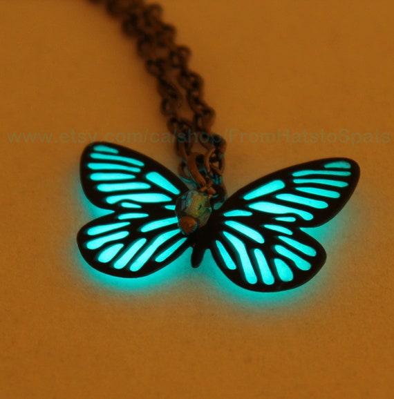 Glow in the Dark Wrapped Butterfly Wings Glowing Filigree Butterfly Necklace Luminous Orb