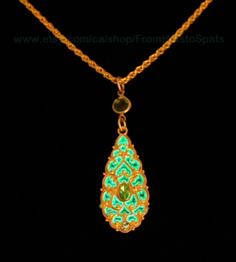 Victorian Style Filigree Pendant in 22 karat Gold Plated with Green Glow in the Dark Magic!