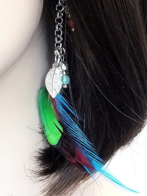 Tribal Earrings Hypoallergenic Earrings Feather Earrings Natural Jewelry Surgical Steel Hooks Blue Jewelry Silver Plated Feather