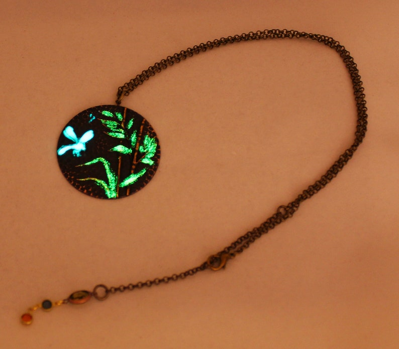 Nature Jewelry. with Glow in the Dark over an Artisan Finish Dragonfly Pendant