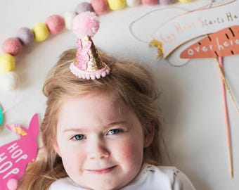 Pink and gold easter hat, glitter hat, bunny hat, rabbit hat, bunny ears, easter bunny, photo prop, pink and gold, pom hat, theme, spring,