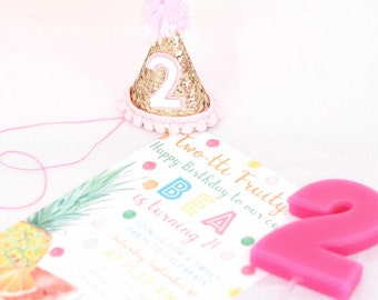 Number 2 Birthday Hat 2nd Gold Party Second Blush Cake Smash Girl Theme Sparkle Glitter Unicornllama