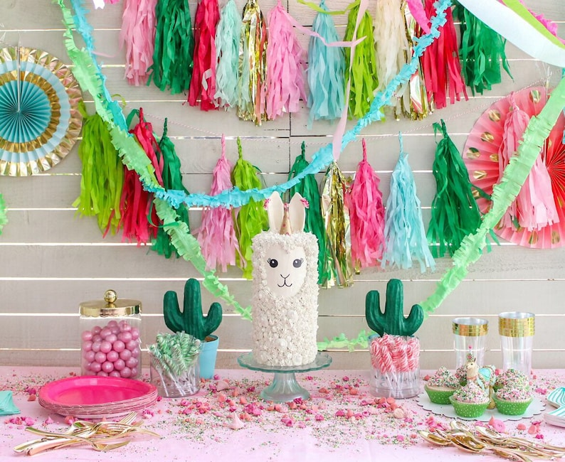 Llama Party Theme Cactus Hot pink red baby blue image 0