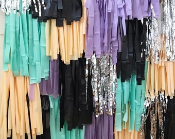 """4 Piece Tablecloth Fringe Backdrop Colorblock """"Wall"""", Flagtape Backdrop, streamer wall  Fringe Backdrop, Birthday, Party Theme, Customizable"""