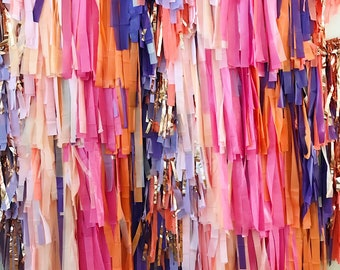 """10 Piece Tablecloth Fringe Backdrop """"Wall"""", Flagtape Backdrop, streamer wall  Fringe Backdrop, Birthday, Party Theme, Customizable streamer"""