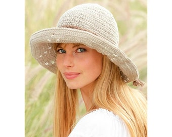 c458fa54a7d Women s Hat Hand Knit Cotton Summer Hat Outdoors Spring Mother s Day Gift  Garden Hat Beach Brim Hat Handmade Crochet Sun Hat Brimmed Hat