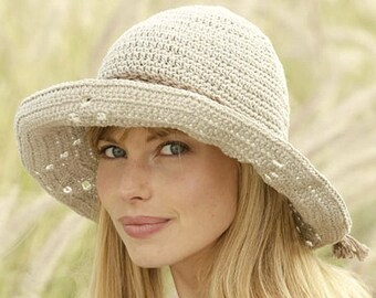 Women's Hat Cotton Brim Hat Handmade Cotton Hat Crochet Hat Gift for Her Hand Crocheted Hat Women's Summer Hat Women's Sun Hat