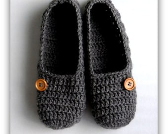 2bee24ebf183a8 Women s Slippers Ladies Grey Slippers Crochet Handmade Gift for Her  Handmade Slippers Women s Slip On Comfy Slippers Valentine s Day