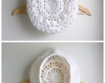 Hand Crocheted Beret Women's Lacy White Hat Beret Handmade Gift Winter Hat White Winter Hat Cap Women's Tam Beret Acrylic or Wool