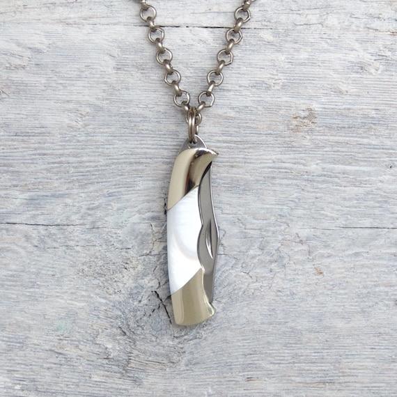 Halskette Messer Taschen Männer Perle» Silber Halskette» Rolo Hipster Schmuck Weiße Herren Rock Antik Miniatur Für Kette» Halsketten rWExdeQoCB