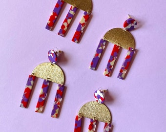 Purple and Red Multi colored tortoise dangle modern Las Ofrendas, one of a kind statement earrings