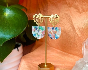 Gold monstera blue tortoise modern dangly  Las Ofrendas statement earrings