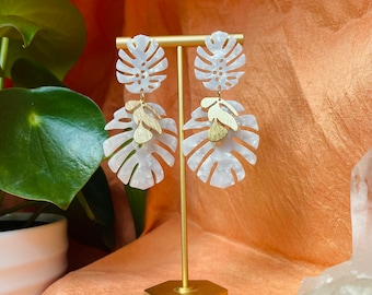 White double monstera and gold leaf dangly , Las Ofrendas one of a kind statement