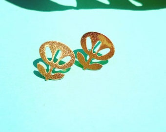Gold plated mini flower  studs modern Las Ofrendas, one of a kind statement earrings