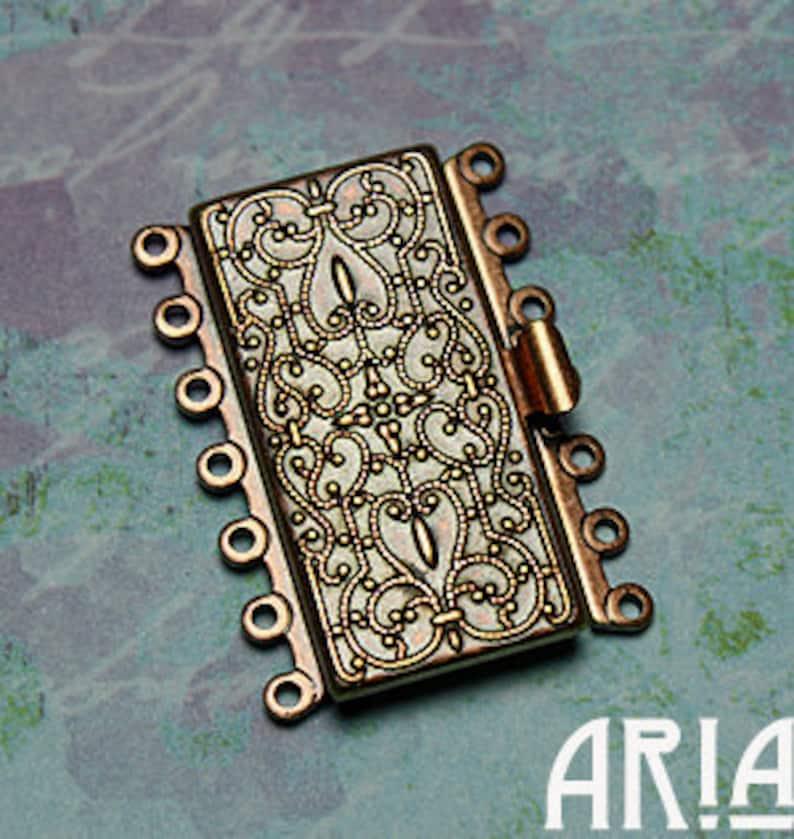 NOUVEAU BOX CLASP:  26x36mm Antique Copper Plated Brass Seven image 0