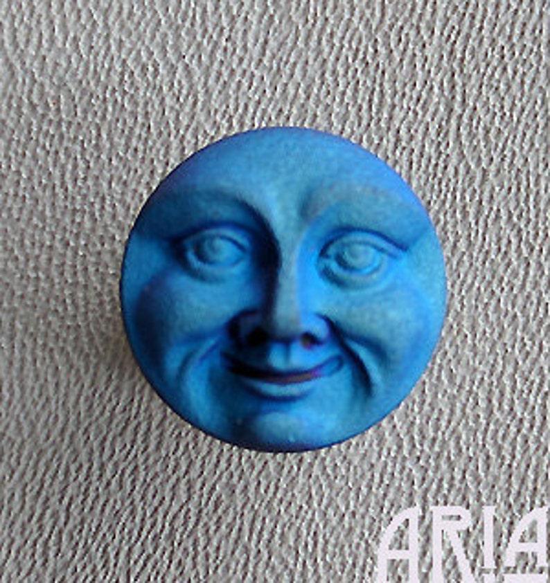 CZECH GLASS BUTTON: 18mm Handpainted Czech Glass Moon Face image 0