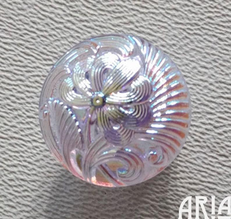 CZECH GLASS BUTTON: 18mm Handpainted Czech Glass Nouveau image 0
