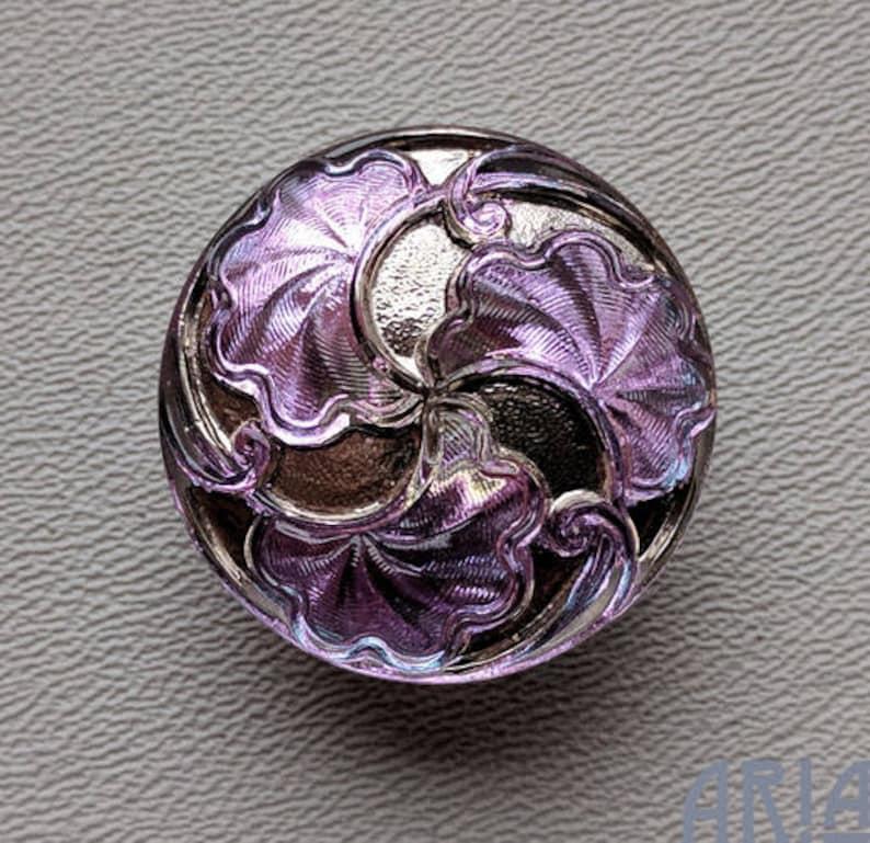 CZECH GLASS BUTTON: 28mm Handpainted Nouveau Gingko Czech image 0