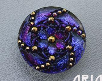 CZECH GLASS BUTTON: 31mm Handpainted Flower Swirl Czech Glass Button, Pendant, Cabochon (1)