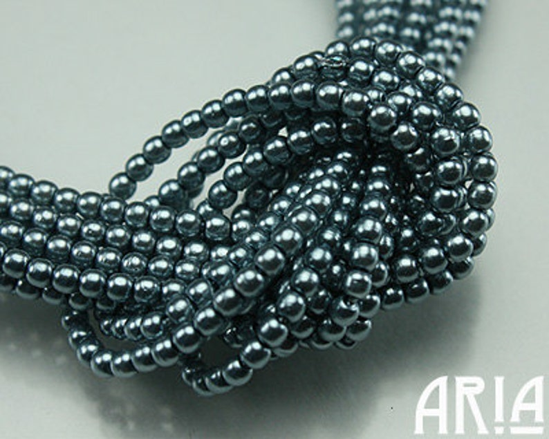 LIGHT TEAL SATIN: 2mm Czech Glass Pearl Beads 150 beads per image 0