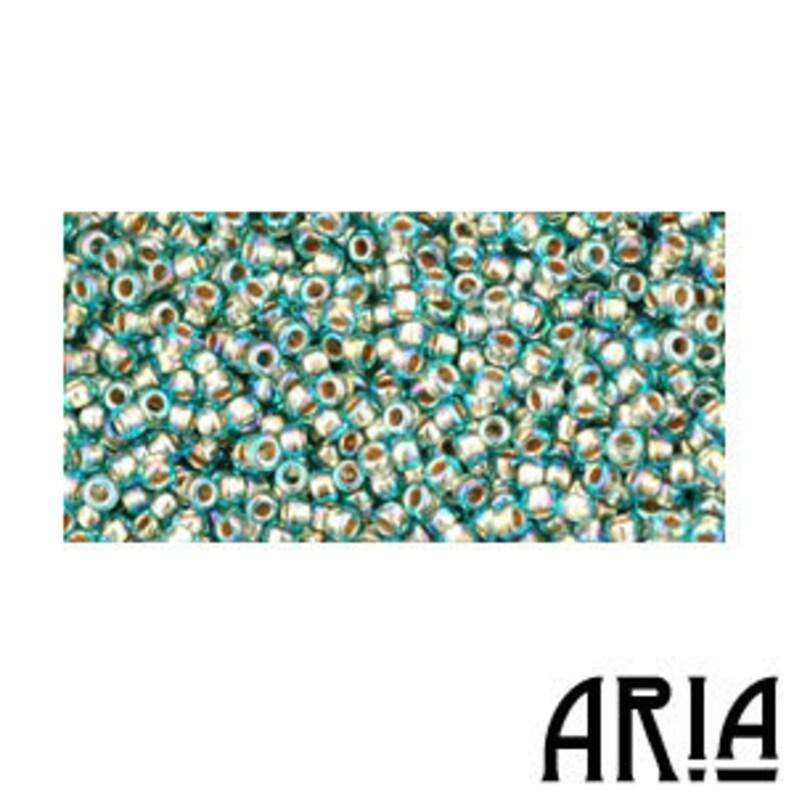 AQUA RAINBOW GOLD Lined 995: 15/o Toho Japanese Seed Beads image 0