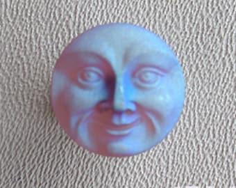 CZECH GLASS BUTTON: 18mm Handpainted Czech Glass Moon Face Button, Pendant, Cabochon (1)