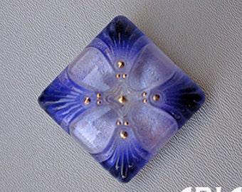 CZECH GLASS BUTTON: 34mm Handpainted Nouveau Cross Medallion Czech Glass Rounded Square Button, Pendant, Cabochon (1)