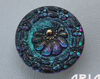 CZECH GLASS BUTTON: 31mm Floral Crescent Handpainted Czech Glass Button, Pendant, Cabochon (1)