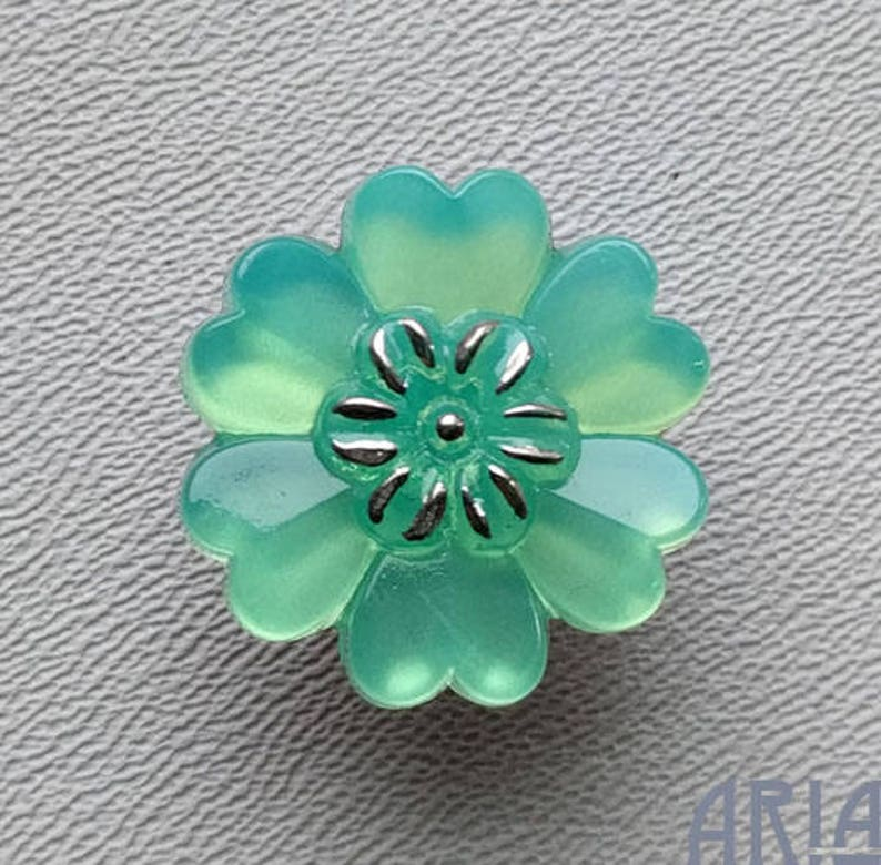 CZECH GLASS BUTTON: 22mm Sculptural Flower Handpainted Czech image 0