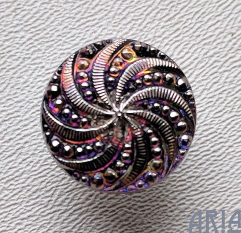 CZECH GLASS BUTTON: 18mm Swirl Handpainted Czech Glass Button image 0