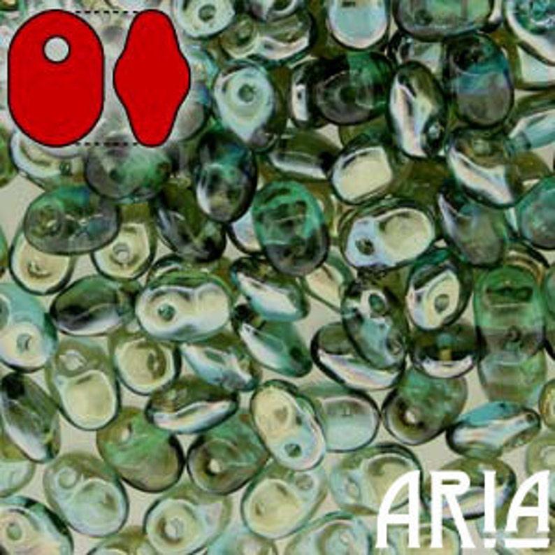 AQUA CELSIAN: SuperUno Czech Glass Seed Bead Drops 2.5x5mm image 0