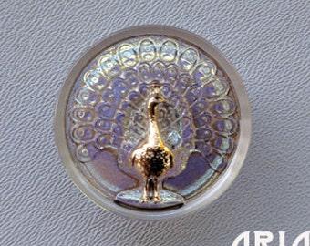 CZECH GLASS BUTTON: 33mm Ornate Peacock Handpainted Czech Glass Button, Pendant, Cabochon (1)