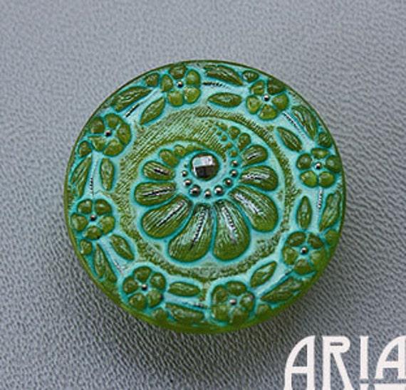 Cool Czech Glass Shank Moon Face Button 18mm Silky Aqua w// Gold Color on Top