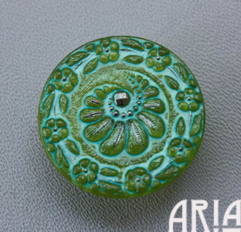 CZECH GLASS BUTTON: 31mm Floral Crescent Handpainted Czech image 0