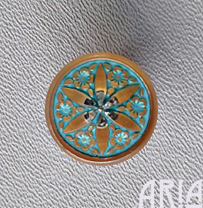 CZECH GLASS BUTTON: 18mm Star Flower Handpainted Czech Button image 0