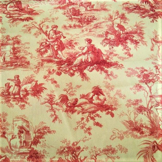 Upholstery Fabric Drapery Fabric Yellow Red French Toile Etsy