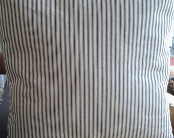 Blue Ticking Stripe Pillow Cover, 22''x22'' Blue French Ticking Pillow, DecorativePillowCover, Country French Home, Shabby Farmhouse Cottage